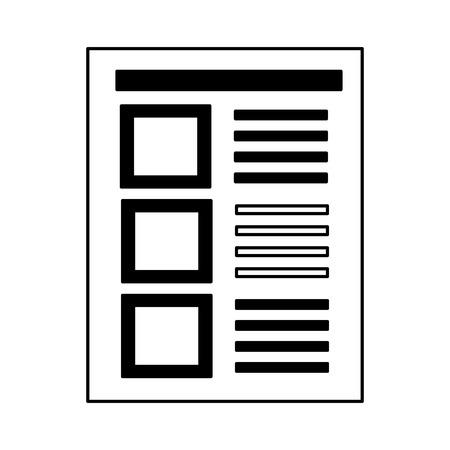 document paper sheet file office vector illustration monochrome