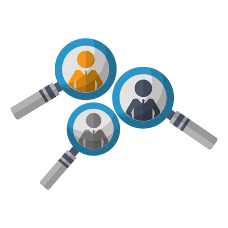 group people in magnifying glass human resources vector illustration