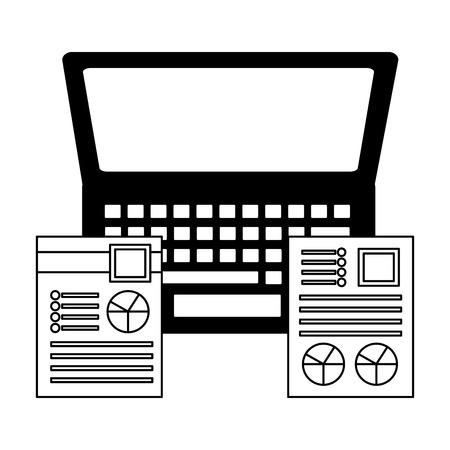 laptop office documents graphs report business vector illustration monochrome
