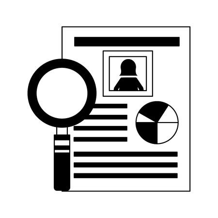 human resources document personal information vector illustration monochrome Illustration