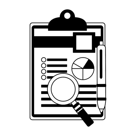 clipboard paper information graph magnifying glass and pen vector illustration monochrome Banque d'images - 105561527
