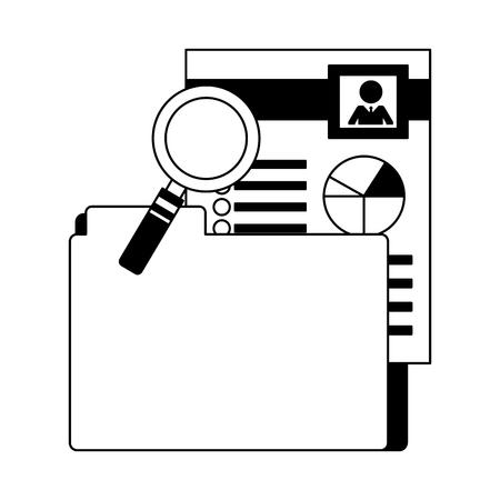 folder file document hr magnifying glass vector illustration monochrome