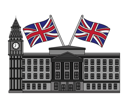 london clock station with flags icon vector illustration design Banque d'images - 105570834