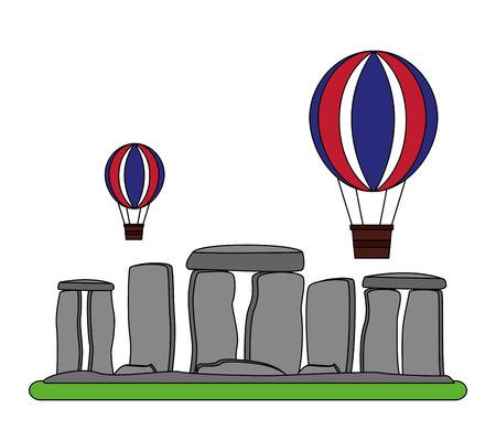 Monument de Stonehenge de Grande-Bretagne avec ballon volant vector illustration design