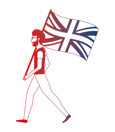 man with flag in pole of great britain isolated icon vector illustration design