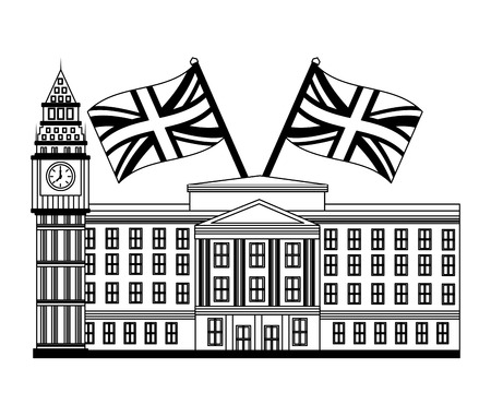 london clock station with flags icon vector illustration design