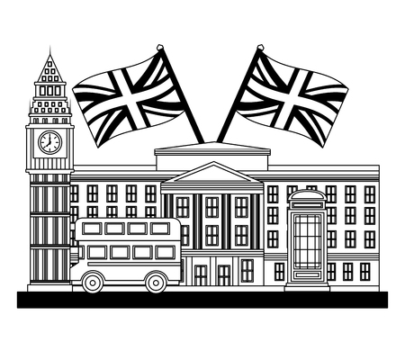 london clock station with flags great britain vector illustration design