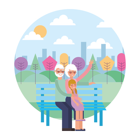 grandparents couple with granddaughter in chair vector illustration design