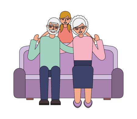 grandparents with granddaughter sitting on sofa vector illustration Reklamní fotografie - 112388587