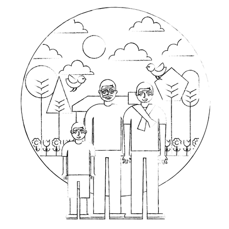 grandfather dad and son together house garden trees vector illustration hand drawing