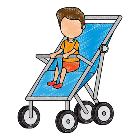 baby boy in cart vector illustration design Illustration