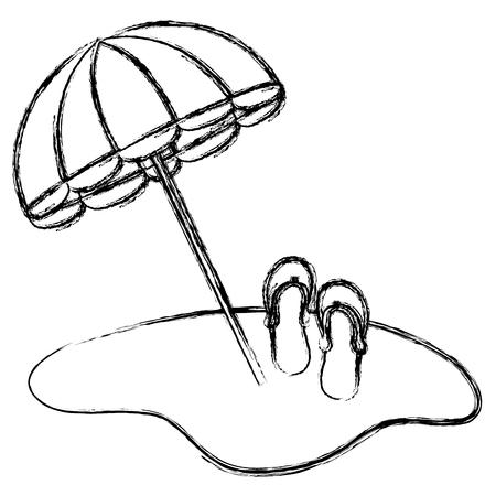 umbrella beach with sandals vector illustration design