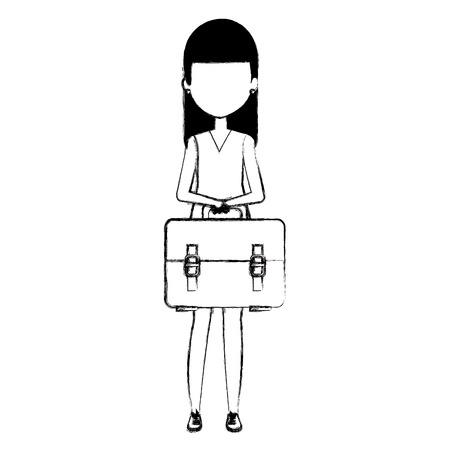 young girl student with handbag character vector illustration design Illustration