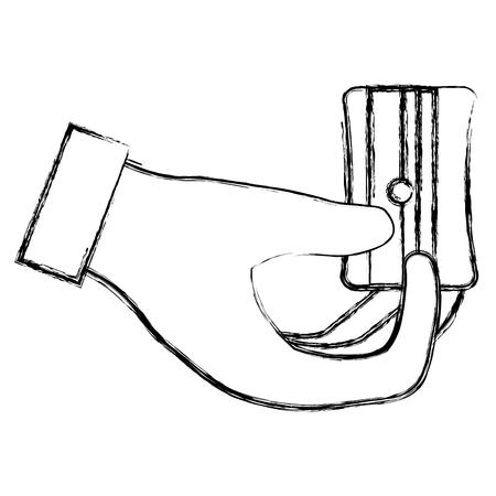 hand with sharpener icon vector illustration design Ilustração