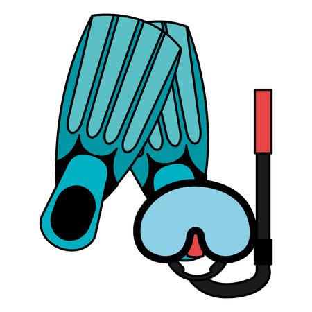 snorkel mask and fins vector illustration design