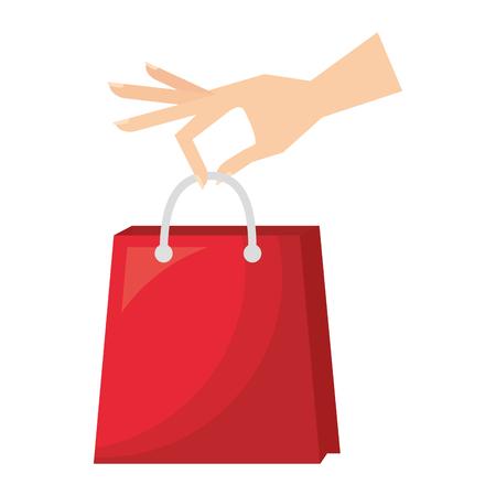 hand holding shopping bag commerce vector illustration