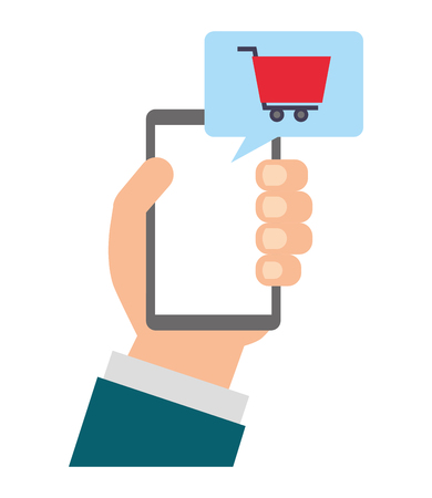 hand holding smartphone shopping cart online vector illustration Illusztráció