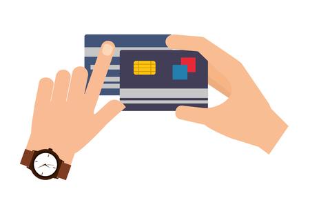 hands holds bank cards shopping commerce vector illustration Illustration