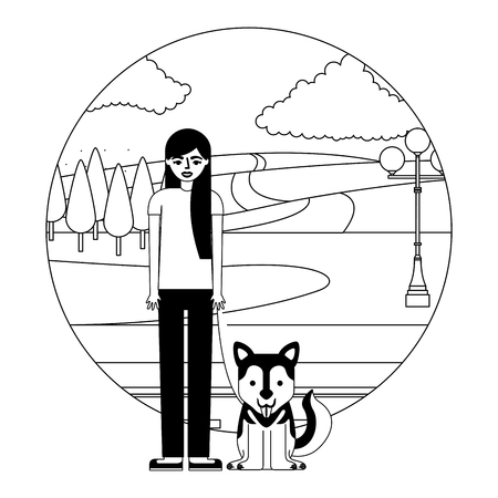 young woman with dog mascot in landscape vector illustration design