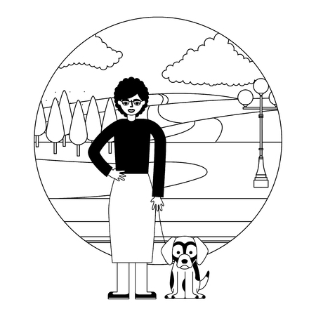 cute grandmother with mascot dog in landscape vector illustration design