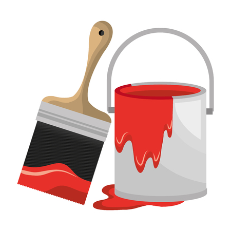 paint pot with brush vector illustration design