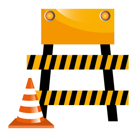 construction barricade fence with cone vector illustration design Illustration
