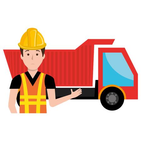 builder with dump truck character vector illustration design