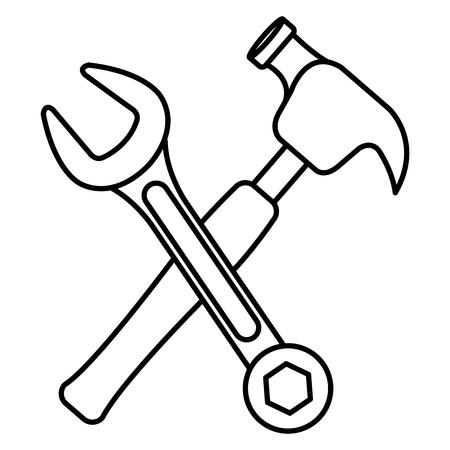 hammer with wrench crossing vector illustration design Illusztráció