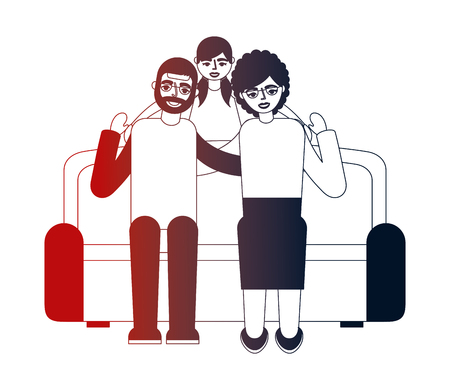 grandparents with granddaughter sitting on sofa vector illustration neon design