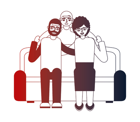 grandparents with grandson sitting on sofa vector illustration neon design 向量圖像