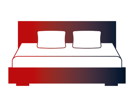 wooden double bed pillows furniture vector illustration neon design