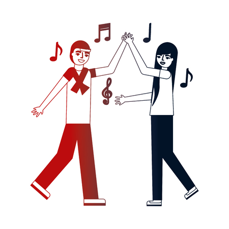 man and woman dancing music vector illustration neon design