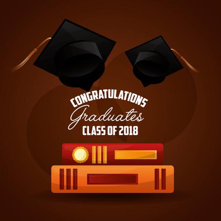 congratulations graduates class of 2018 caps and book academy vector illustration