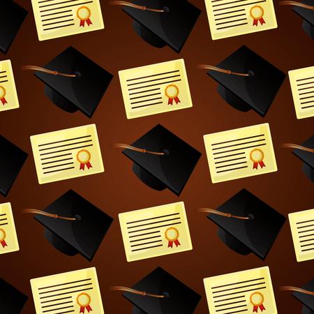 congratulations graduation hats certificate award study background vector illustration Illustration