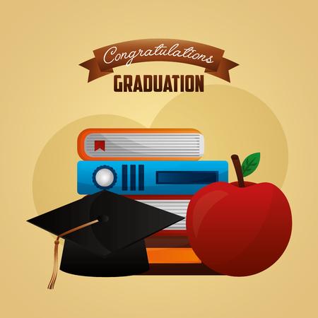 congratulations graduation hat academy books and apple vector illustration