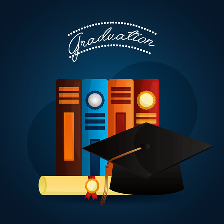 graduation hat on books knowledge school vector illustration