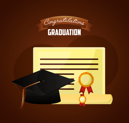 congratulations graduation hat and diploma scroll parchment paper vector illustration Ilustracja