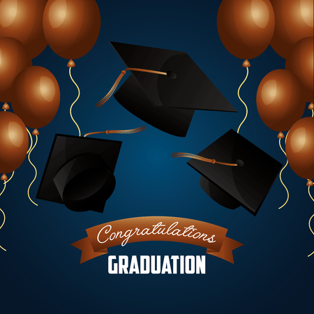 congratulations graduation hats and brown balloons blue background vector illustration