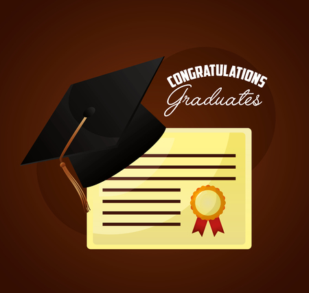 congratulations graduates hat on diploma award vector illustration Illustration