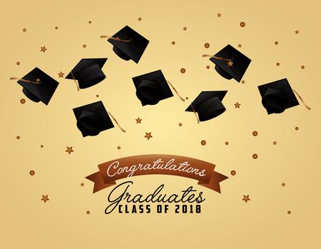 congratulations graduates class of 2018 hats ceremony celebration card vector illustration Illustration