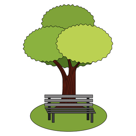 leafy tree foliage nature and bench park vector illustration 向量圖像