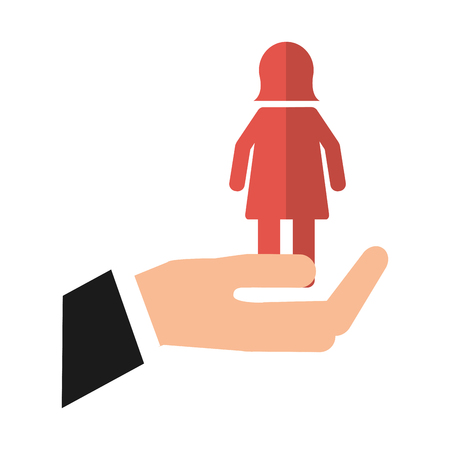 hand with female gender silhouette vector illustration design