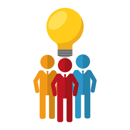business men team work silhouettes with light bulb vector illustration design Banque d'images - 112388679