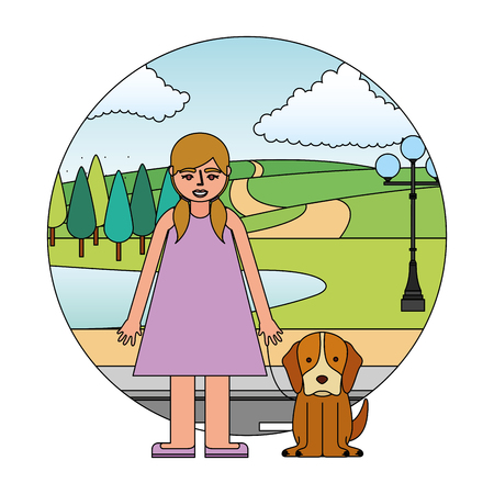 blond little girl with dog in the street park vector illustration Illustration