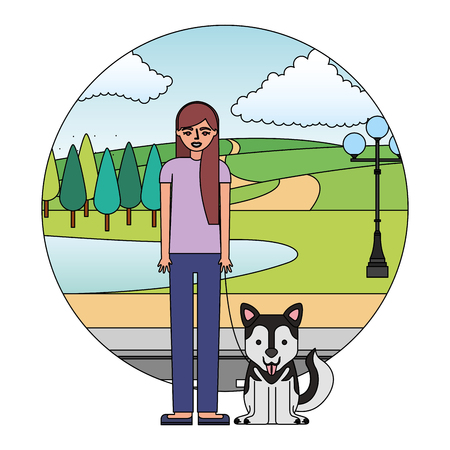 woman standing with siberian dog in the street park vector illustration
