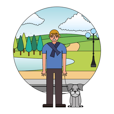 man standing near her schnauzer dog in the street park vector illustration