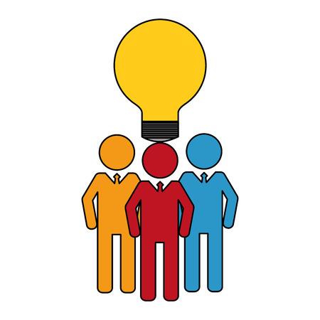business men team work silhouettes with light bulb vector illustration design Banque d'images - 112388690