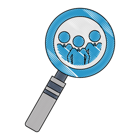 magnifying glass team work silhouettes icon vector illustration design