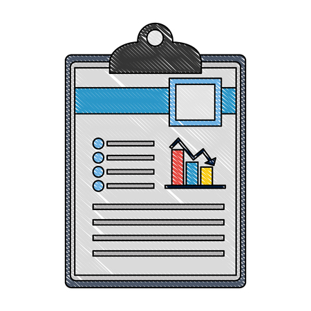 checklist with document file and statistics bars graphic vector illustration design Stock Illustratie
