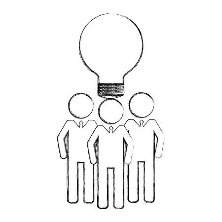 business men team work silhouettes with light bulb vector illustration design